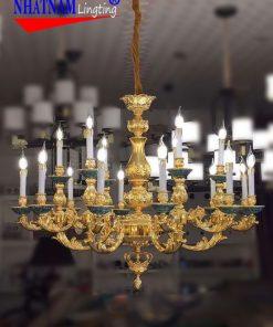 Đèn Chùm Đồng mạ vàng 24k 18 tay nến NNL18