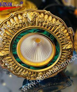 Đèn âm trần đồng mạ vàng thật 24k khoét lỗ 95-105 12w