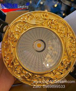 Đèn âm trần đồng mạ vàng 24k