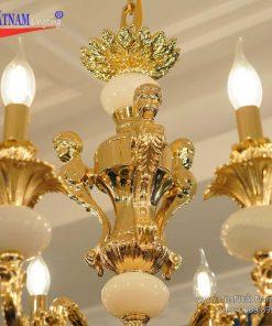 Đèn chùm đồng đá mạ vàng