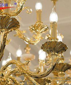 Đèn chùm đồng mạ vàng
